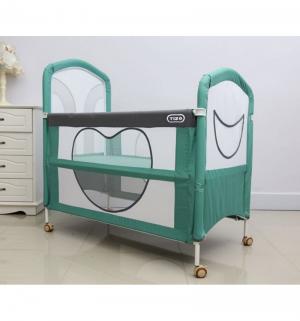 Кроватка-манеж  Be Happy, цвет: зеленый/серый Tizo
