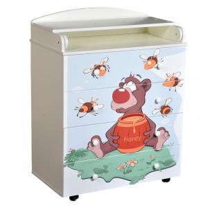 Комод  с пеленальной доской Fantasia Little bee шариковыми направляющими Кедр