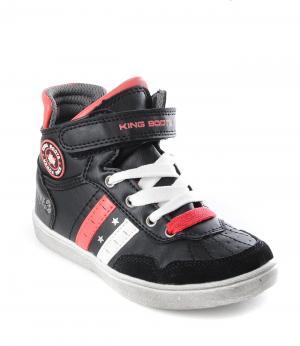Ботинки на молнии для мальчика (черно-красные) King Boots. Цвет: черный