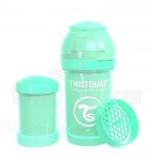 Бутылочка  для кормления антиколиковая пластик с рождения, 180 мл, цвет: зеленый Twistshake
