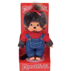 Мягкая игрушка  Мончичи, девочка в комбинезоне и красной футболке, 20 см Monchhichi. Цвет: разноцветный