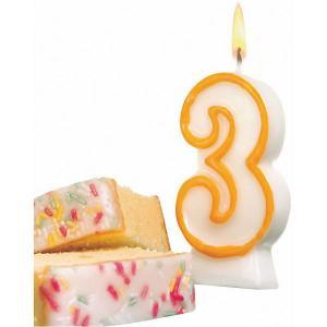 Свеча-цифра для торта  3 8,5 см, жёлтая Susy Card