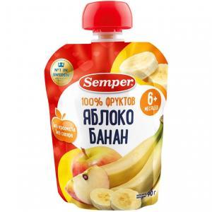 Пюре  яблоко-банан с 6 месяцев, 90 г Semper