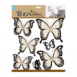 Наклейка Бабочки многослойные с блестками REA 5002, Room Decor