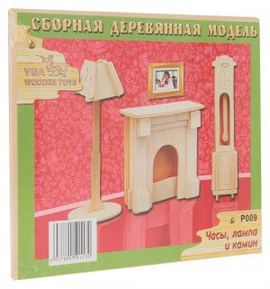 Деревянный конструктор  Часы лампа и камин Wooden Toys