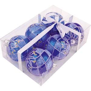 Набор елочных шаров Magic Land синий, 6 штук Волшебная Страна. Цвет: разноцветный