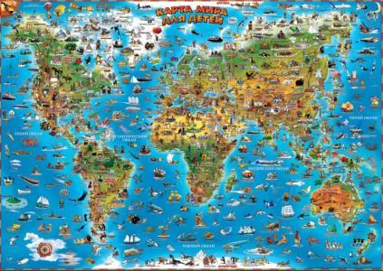 Карта мира для детей настенная 137 см Геоцентр