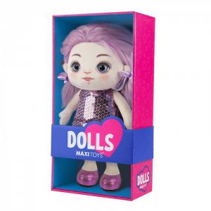 Мягкая игрушка  Кукла Василиса в фиолетовом платье 35 см Maxitoys