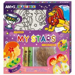 Набор витражных красок Зодиак+: 6 цветов, витражей, наклейки Amos