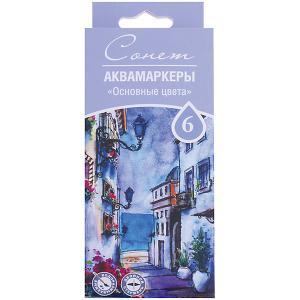 Набор аквамаркеров 3ХК Сонет: основные цвета, 6 цветов Невская палитра