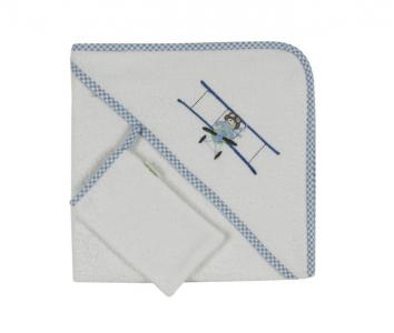 Комплект полотенце-уголок + варежка Little Pilot Kidboo