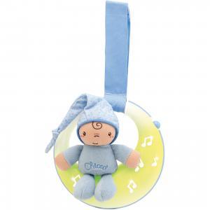 Подвеска для кроватки Спокойной ночи, луна, голубая, Chicco. Цвет: синий