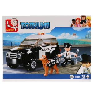 , Конструктор пластиковый Полицейская машина с фигуркой, 78дет. Sluban