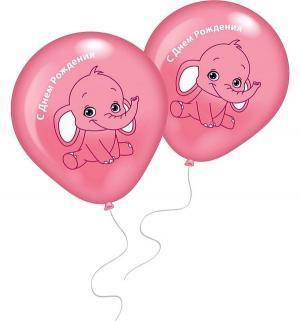 Набор шариков  С днем рождения Розовый слоненок 8 шт Everts