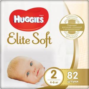 Подгузники Элит Софт 2 (3-6 кг) 82 шт. Huggies
