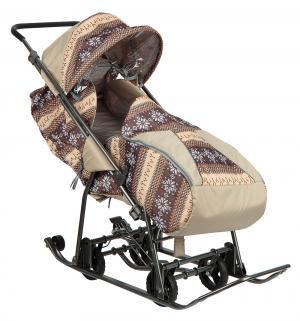 Санки-коляска  Снежинка Универсал, цвет: скандинавия/коричневый Galaxy