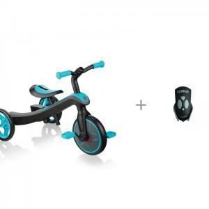 Велосипед трехколесный  беговел Trike Explorer 2 в 1 и габаритный фонарь Globber