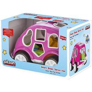 Машинка с кубиками  Smart Shape Sorter Car, розовая Pilsan. Цвет: розовый