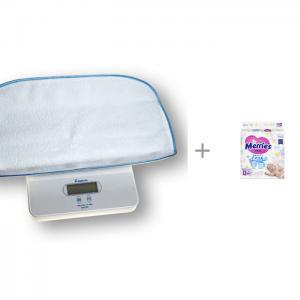 Детские весы  6420 с подгузниками Merries NB (0-5 кг) 90 шт. Momert