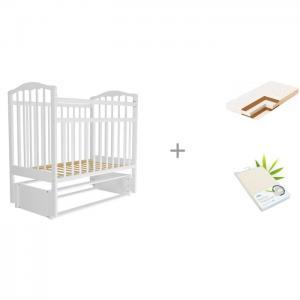 Детская кроватка  Золушка-5 с матрасом Плитекс Кокосовый Юниор-плюс и наматрасником Bamboo Waterproof Comfort Агат