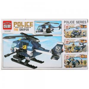 Enlighten Brick, Конструктор пластиковый Полицейский вертолет с фигурками и аксесс., 157дет. No Name