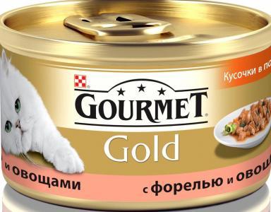 Корм влажный  Gold для взрослых кошек, форель/овощи, 85г Gourmet