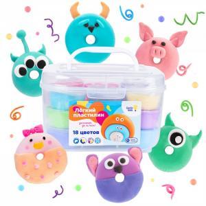 Набор для детской лепки в контейнере Лёгкий пластилин 18 цветов Genio Kids