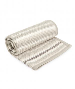 Одеяло  в полоску вязаное, цвет: бежевый Mothercare