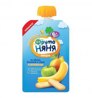 Пюре  в мягкой упаковке яблоко-груша-банан с 6 месяцев, 90 г, 1 шт ФрутоНяня