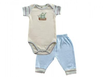 Комплект  Боди к/р и штанишки, Органик голубой, р.18 Hudson Baby