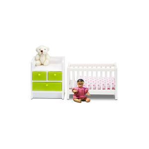 Мебель для домика  Кровать с пеленальным комодом Lundby. Цвет: разноцветный