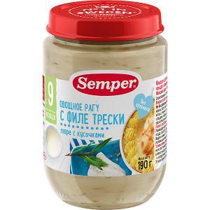 Пюре  овощное рагу с филе трески 9 мес, 12 шт х 190 г Semper