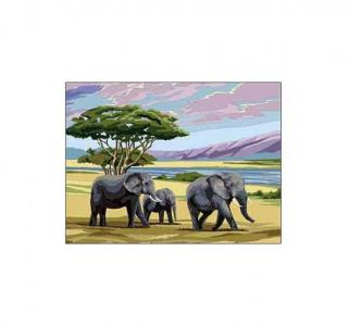 Раскраска по номерам  А4 Слоны Рыжий кот