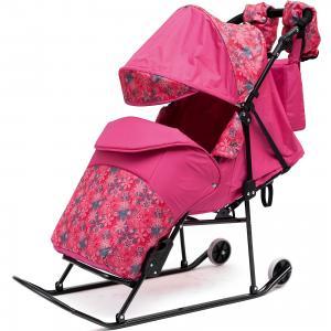 Санки-коляска  Зимняя сказка 3В Авто, черная рама, розовый/снежинки ABC Academy. Цвет: розовый