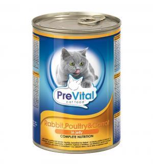 Влажный корм  для взрослых кошек, кролик/домашняя птица/морковь, 415г Prevital
