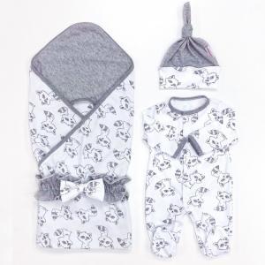 Комплект на выписку  летний (плед, пояс-бант, комбинезон, шапочка) Еноты СуперМаМкет
