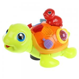 Игрушка музыкальная на батарейках Черепаха с черепашонком, со светом No Name