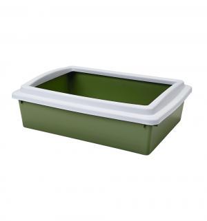 Лоток для кошек и котят  с бортиком, цвет: зеленый, 50*35*12см Beeztees