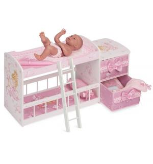 Кроватка для кукол  Мария двухъярусная 80 см DeCuevas