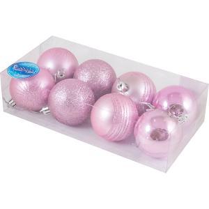 Набор елочных шаров Magic Land розовый, 8 штук Волшебная Страна. Цвет: разноцветный