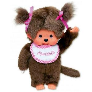 Мягкая игрушка  Мончичи, девочка в слюнявчике, 20 см Monchhichi