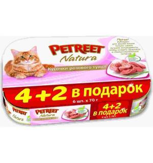Влажный корм  для взрослых кошек, кусочки розового тунца, 70г*4шт+2шт в подарок Petreet