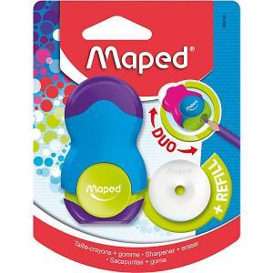 Канцелярский набор 2в1  Loopy с точилкой и ластиком Maped. Цвет: разноцветный