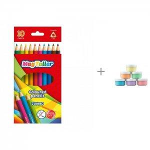 Карандаши цветные толстые Kuvio Jumbo и пальчиковые краски ROXY-KIDS 6 шт. Magtaller