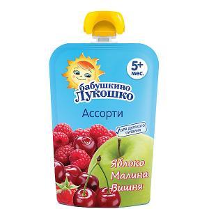 Пюре  яблоко малина вишня, с 5 мес, 12 шт х 90 г Бабушкино Лукошко