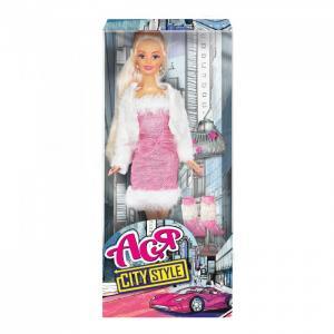 Кукла Ася Городской стиль Блондинка в розовом платье и белой шубке Toys Lab