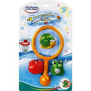 Набор игрушек для ванны , с сачком Bebelino. Цвет: желтый