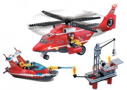 Конструктор  Пожарная служба с катером и вертолётом (404 детали) Enlighten Brick