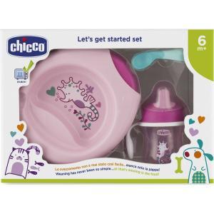 Набор посуды для кормления  4 предмета, цвет: розовый Chicco