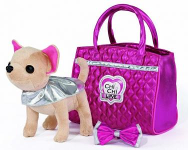Мягкая игрушка  собачка Гламур с сумочкой и бантом 20 см Chi-Chi Love